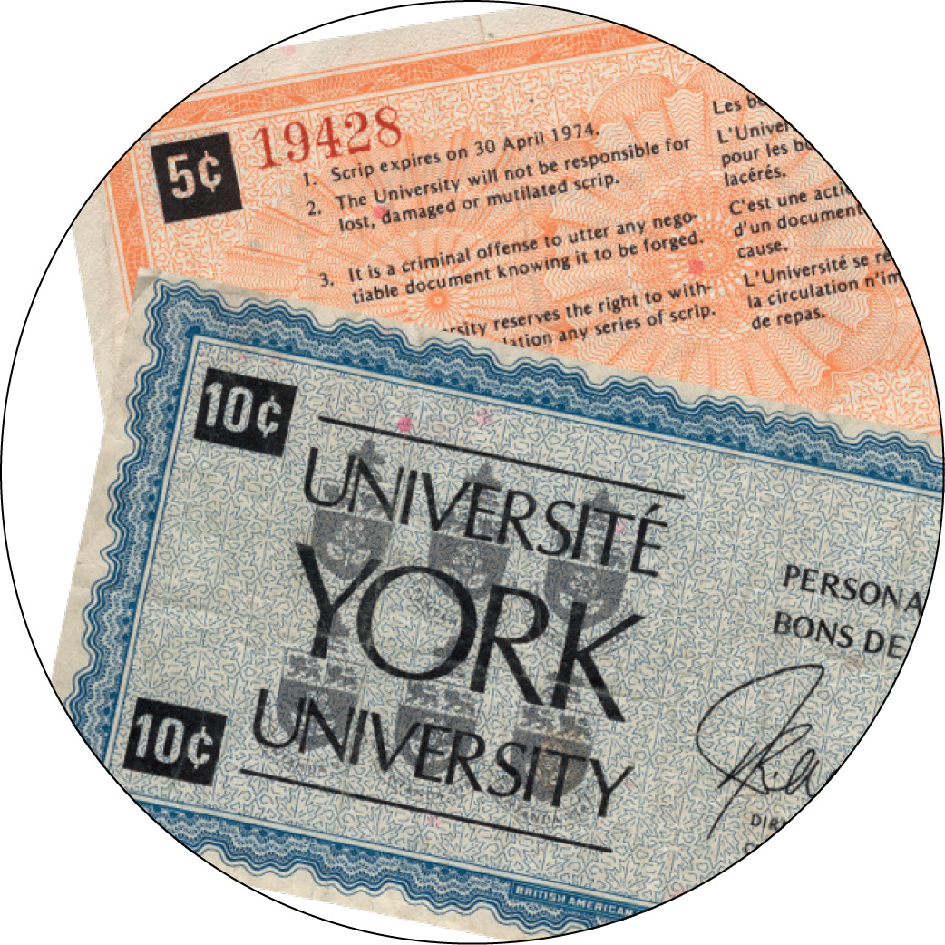 York U currency, scrip