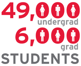 York U has 49,000 undergraduate and 6,000 graduate students for a total of 55,000 students